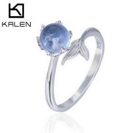 925 Sterling Silver Open Blue Rings for Women