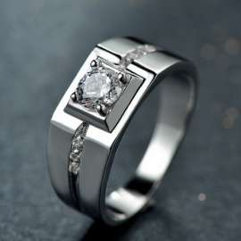 White Mystic Crystal Zircon 925 Sterling Silver Man Ring